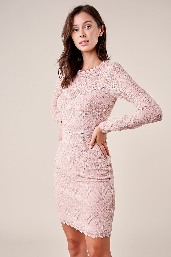Flirting Fate Lace Bodycon Dress- Mauve