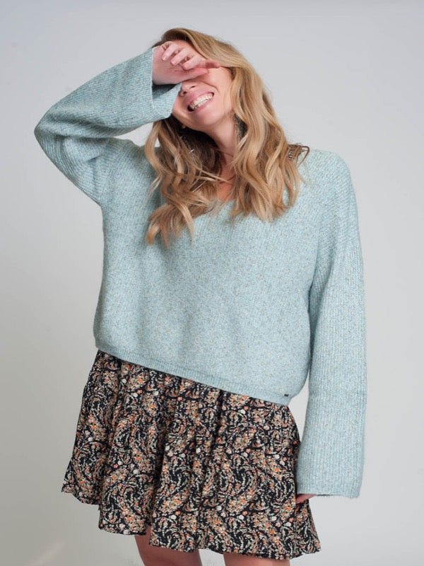 A Vibe Speckled Knit Sweater- Lt. Blue-FINAL SALE - Lark & Lily Boutique