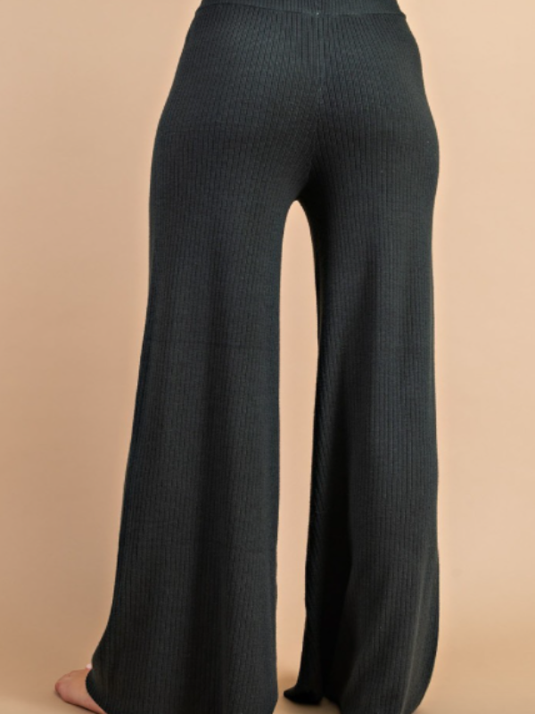Campfire Ribbed Knit Pants-Black