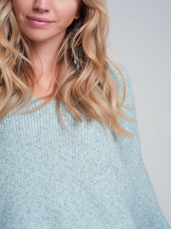 A Vibe Speckled Knit Sweater- Lt. Blue