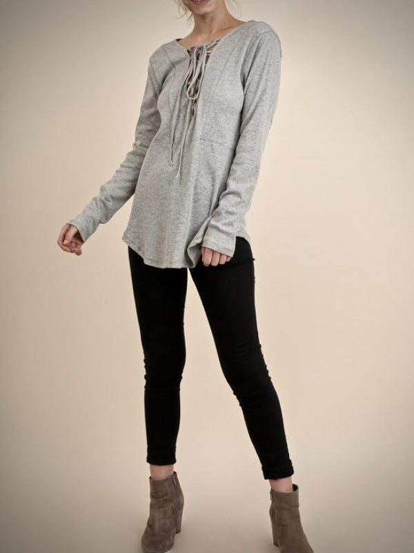 Elle Lace Up Top-Grey