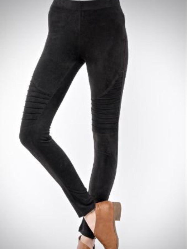 Moto Faux Suede Zip Leggings