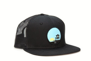 Tower 33 Black Trucker Hat Black Mesh