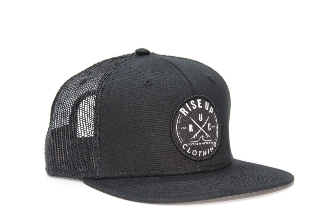 Black Crossing Surfboards Trucker Hat Black Mesh