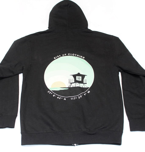Front Zip Tower 33 Black Hoodie