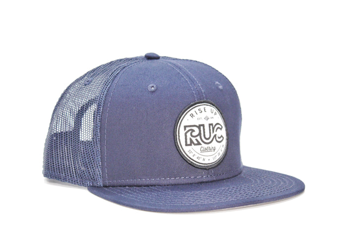 RUC Blue Trucker Hat Blue Mesh