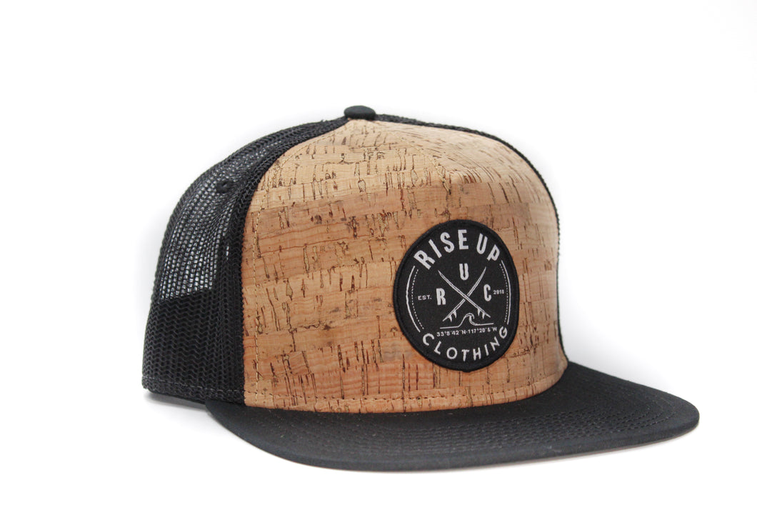 Cork Front Crossing Surfboards Trucker Hat Black Mesh