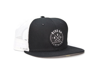 Black and White Crossing Surfboards Trucker Hat