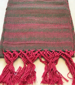 Mexican Rebozo Shawl - Fuchsia & Green Touches - Rebozo Shop Lola My Love