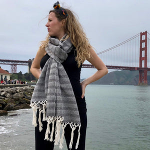 Mexican Rebozo Shawl - Black & White Embrace - Lola My Love