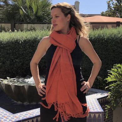 Mexican Rebozo Shawl - Orange Juicy - Lola My Love