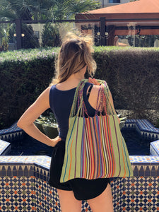 Handmade Woven Cotton Bag Hippie Boho Purse Woman Fair Trade - Green & Orange - Rebozo Shop Lola My Love