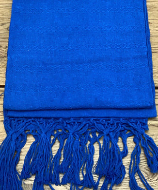 Mexican Rebozo Shawl -  Bright Blue