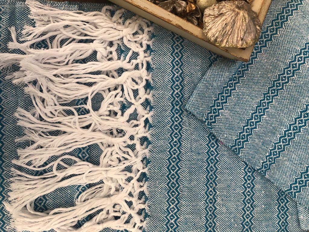 Unique Piece- XL Baby Carrier (Fular) Mexican Rebozo Shawl - Ocean Mist