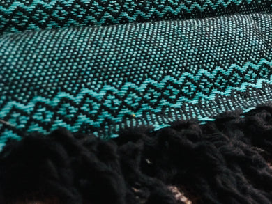 Mexican Rebozo Shawl - Deep Aqua - Lola My Love