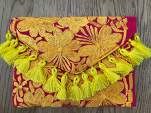 Embroidered Woven Clutch Bag - Pink Yellow Zest