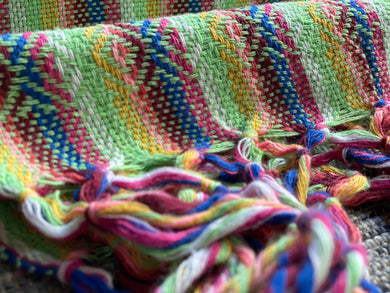Mexican Rebozo Shawl - Bright Green Rainbow - Rebozo Shop Lola My Love