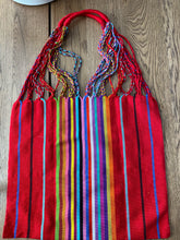 Handcraft Woven Hippie Boho Tote Bag - Bright Red Rainbow