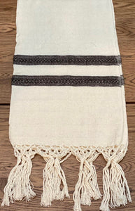 Mexican Motif Rebozo Shawl - Black Snow