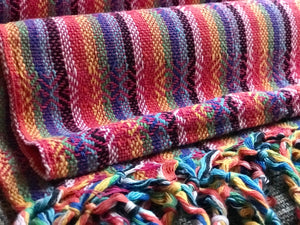 Mexican Rebozo Shawl - Pink Rainbow - Rebozo Shop Lola My Love