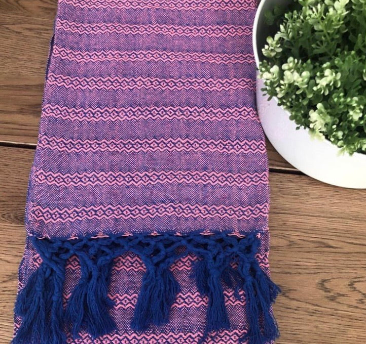 Unique Piece- Mexican Rebozo Shawl - Light Pink & Blue - Lola My Love
