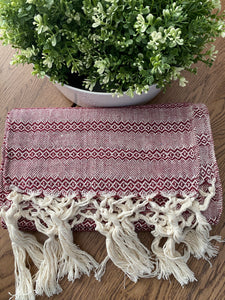 Mexican Rebozo Shawl - White Cherry