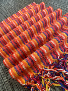 UNIQUE PIECE-Mexican Rebozo Shawl - Sunset Rainbow
