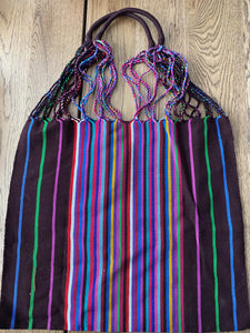 Handcraft Woven Hippie Boho Tote Bag - Dark Brown Rainbow