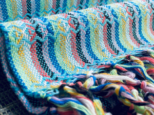 Mexican Rebozo Shawl - Arctic Blue Rainbow