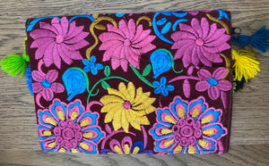 Embroidered Woven Clutch Bag - Pastel Flowers