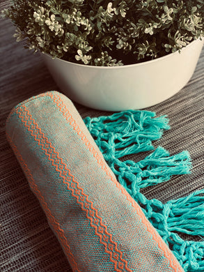 Mexican Rebozo Shawl - Aqua Sunset - Rebozo Shop Lola My Love