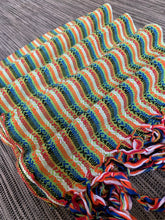 Mexican Rebozo Shawl - Neon Green Rainbow