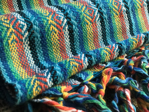 Mexican Rebozo Shawl - Blue Rainbow - Lola My Love