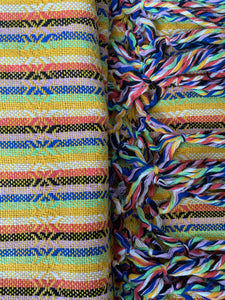 UNIQUE PIECE Mexican Rebozo Shawl - Sunny Light Rainbow