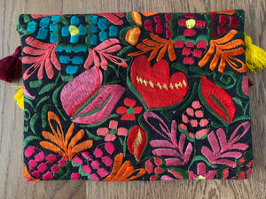 Embroidered Woven Clutch Bag - Midnight Flowers