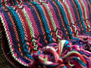 Mexican Rebozo Shawl - Coal Black Rainbow - Rebozo Shop Lola My Love