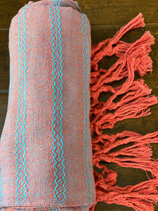 XL Baby Carrier (Fular) Mexican Rebozo Shawl - Light Blue & Orange