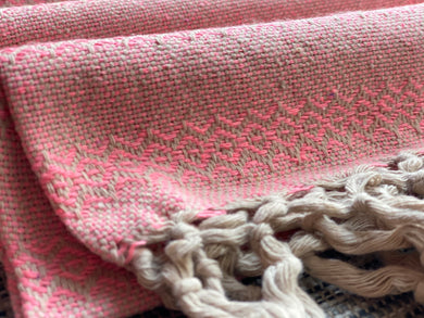 UNIQUE PIECE Mexican Rebozo Shawl - Bright Pink Yute Mexicano
