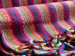 UNIQUE PIECE Mexican Rebozo Shawl - Strawberry Rainbow - Rebozo Shop Lola My Love