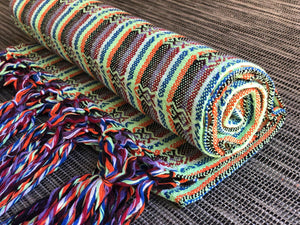 Mexican Rebozo Shawl - Bright Yellow Rainbow - Rebozo Shop Lola My Love