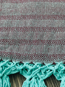 Mexican Rebozo Shawl - Red Velvet Mint - Rebozo Shop Lola My Love