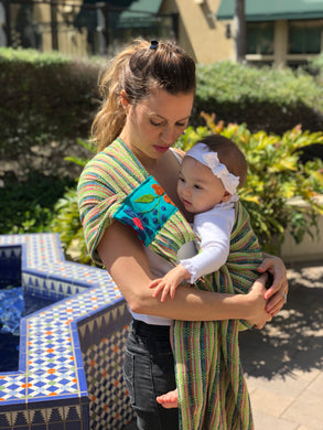 Unique Piece- Mexican Baby Ring Sling - Five Little Speckled Frog - Rebozo Shop Lola My Love