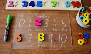 Trace and Wipe Numbers board