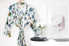 Bird Print Kimono Teal On White