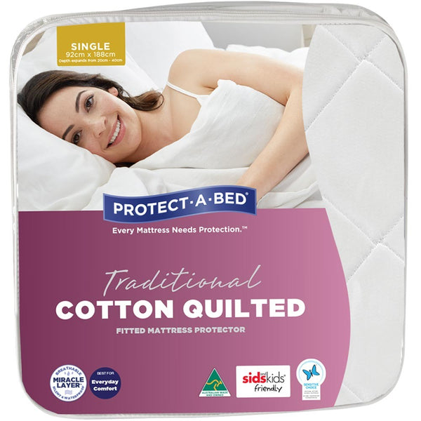 Protect-A-Bed Traditional Cotton Quilted Fitted Mattress Protector