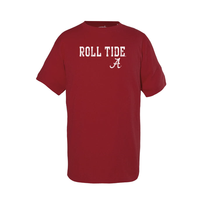 University of Alabama Roll Tide Unisex Kids 100% Cotton Crew Neck T-Shirt - Crimson