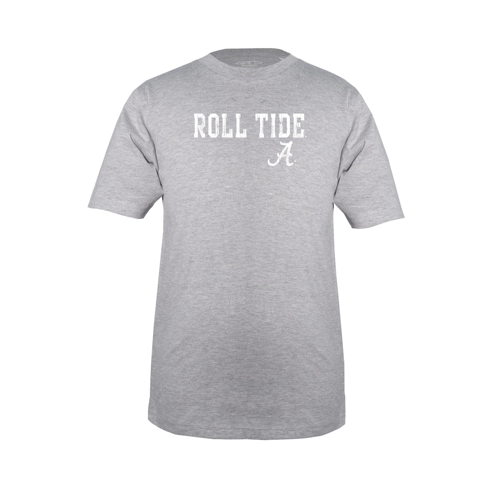 University of Alabama Roll Tide Unisex Kids 100% Cotton Crew Neck T-Shirt - Oxford Gray