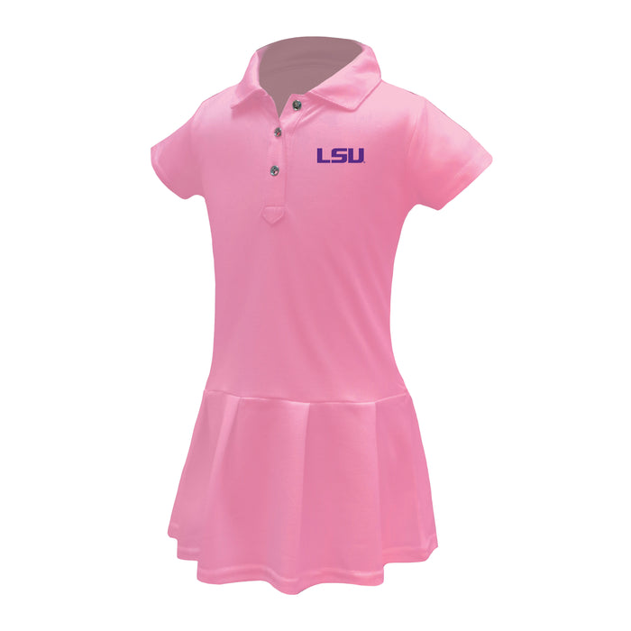 LSU Tigers Girls Infant & Toddler Celebration Short Sleeve Polo Dress - Solid Pink