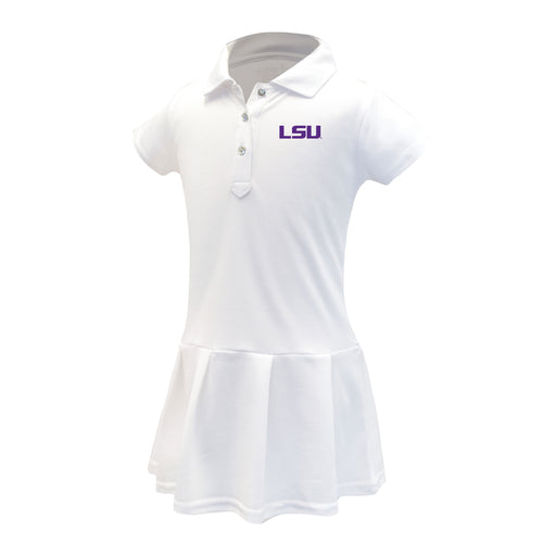 LSU Tigers Girls Infant & Toddler Celebration Short Sleeve Polo Dress - White