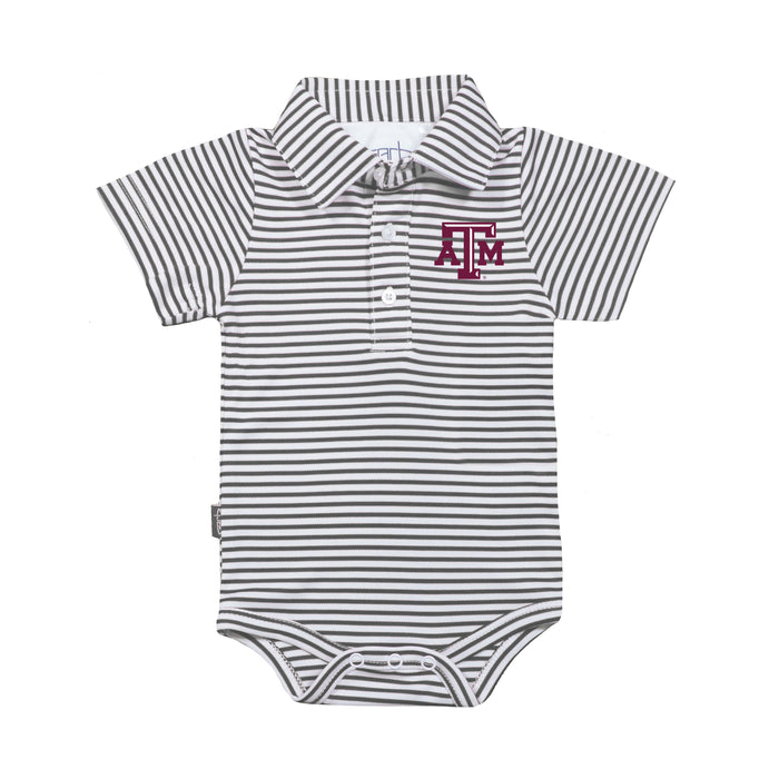 Texas A&M Aggies Infant Striped Polo Bodysuit - Charcoal/White